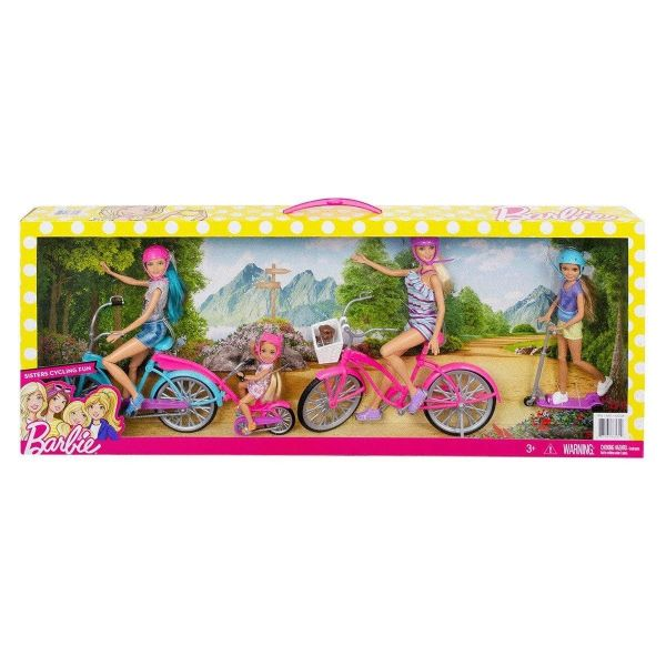 Barbie Sisters Dolls Cycling Fun With Bikes And Scooter